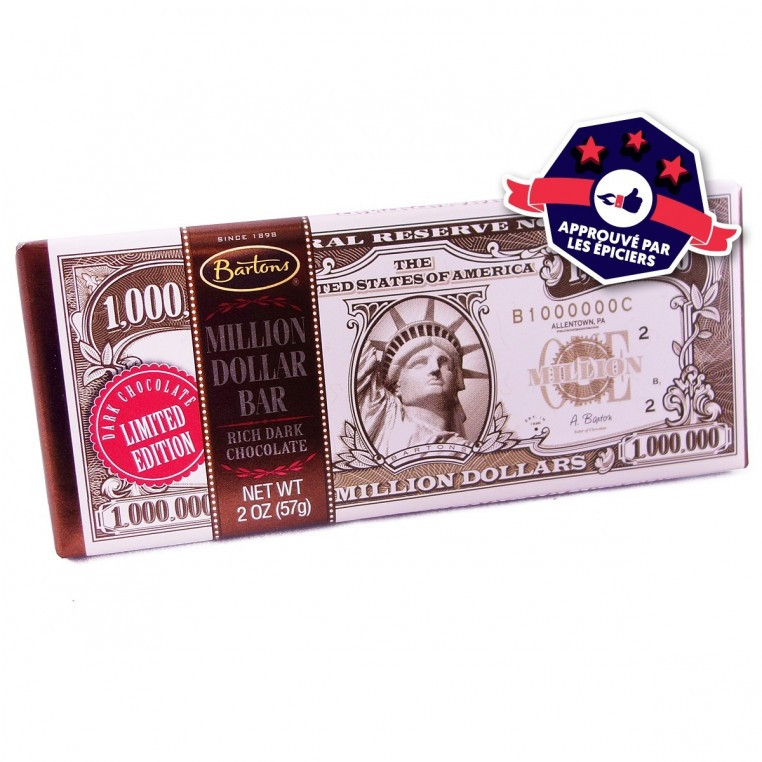 Plaque de chocolat Barton's Million$ dark chocolate