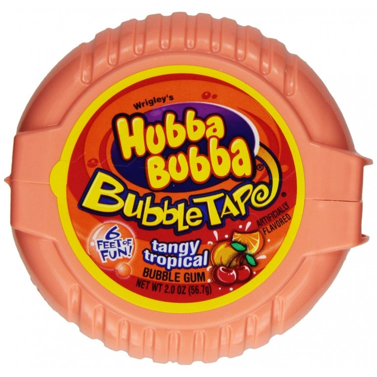 Hubba Bubba rouleau de chewing gums Tropicals Acidulés